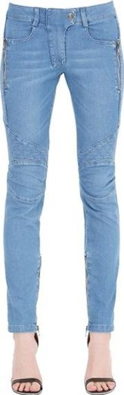 Quilted Stretch Cotton Denim Jeans