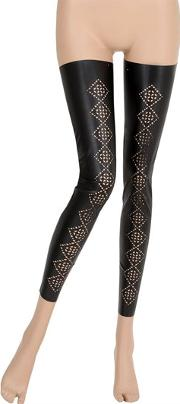 Footless Faux Leather Thigh Highs