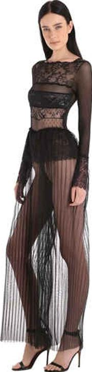 Gaia Paneled Sheer Lace & Tulle Jumpsuit