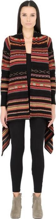Striped Wool Blend Cardigan