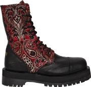 40mm Dirty Jacquard & Leather Boots