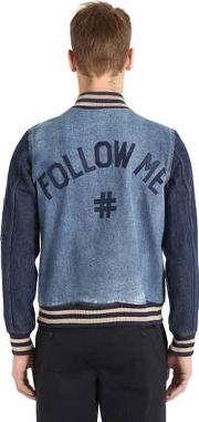 Follow Me Two Tone Denim Bomber Jacket