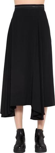 Draped Viscose Twill Skirt