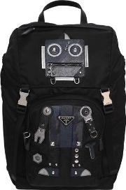 Nylon Backpack W Leather Robot Patches