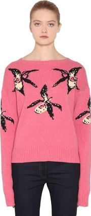 Orchid Intarsia Cashmere &wool Sweater