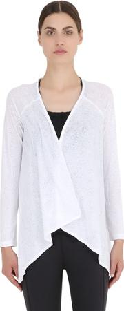 Burnout Cotton Blend Jersey Wrap Jacket