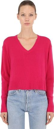 Wool & Cashmere Blend Cropped Sweater