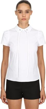 Cotton Poplin Blouse With Bow Detail
