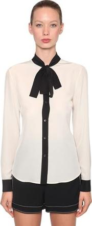 Contrasting Bow Silk Crepe Blouse