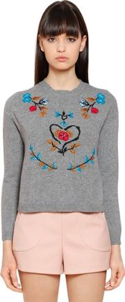 Floral Wool Blend Sweater