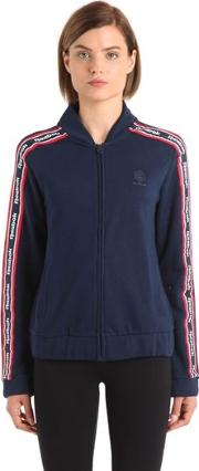 Cotton Track Jacket With Logo Bands