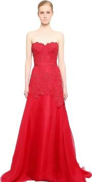 Embroidered Lace & Silk Organza Dress
