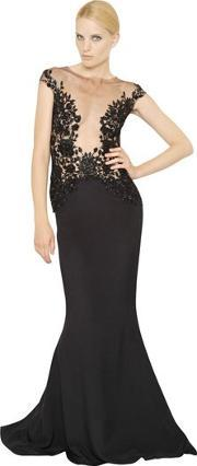 Embroidered Satin Long Dress