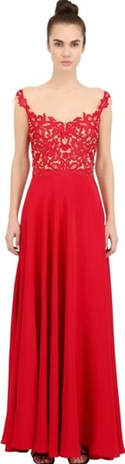 Embroidered Silk Crepe Dress