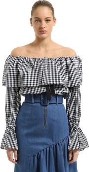 Off The Shoulder Cotton Poplin Blouse