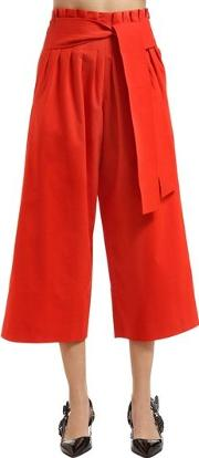 Wide Legged Belted Cotton Pants