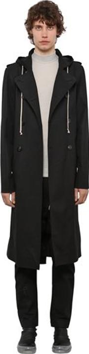 Double Breast Canvas Trench Coat Whood