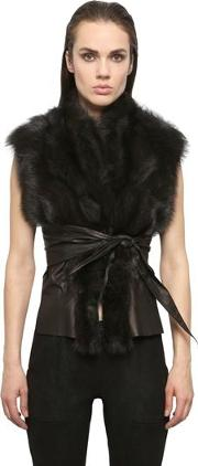 Kangaroo Leather & Fisher Fur Wrap