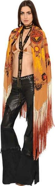 Embroidered Fringed Crepe De Chine Shawl