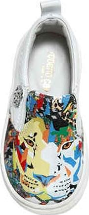 Lion Nappa Leather Slip On Sneakers