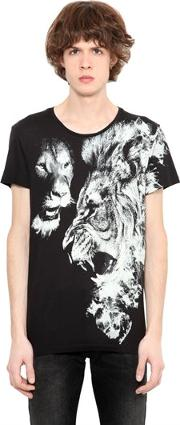Lion Printed Cotton Jersey T Shirt