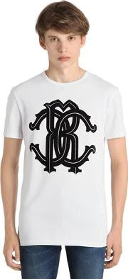 Logo Printed Cotton Jersey T Shirt