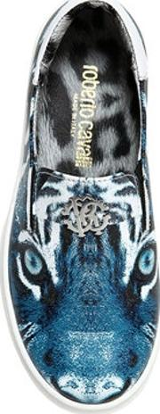 Tiger Nappa Leather Slip On Sneakers