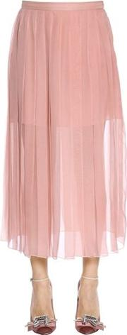 Pleated Silk Chiffon Midi Skirt