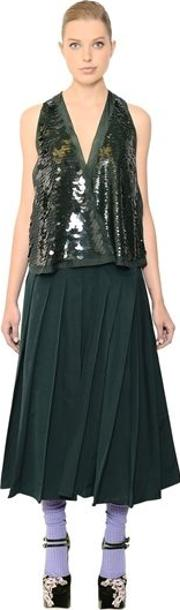 Sequin Embellished Pleated Faille Dress