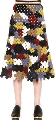 Patchwork Crochet Knit Long Skirt