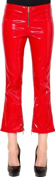 Flared Faux Patent Leather Pants W Zips