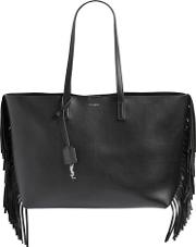 Fringed Leather Tote Bag