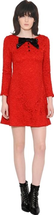 Lace Dress With Sequined Bow