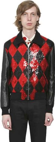 Sequined Wool & Leather Teddy Jacket