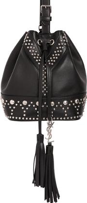 Small Y Studs Leather Bucket Bag