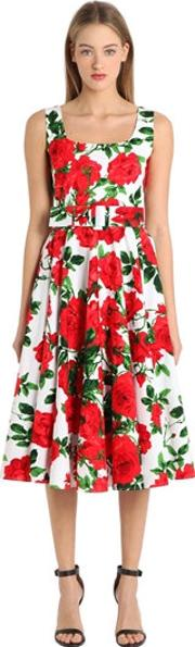Floral Print Stretch Cotton Dress