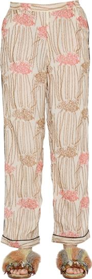 Hand Embroidered Silk Georgette Pants