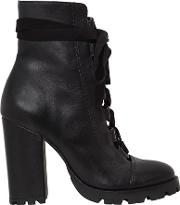 100mm Lace Up Leather Boots