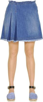 Stone Wash Cotton Denim Mini Skirt