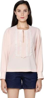 Stretch Crepe Top With Lace Detail
