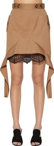 Canvas And Lace Mini Skirt