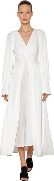 Knotted And Pleated Jersey Long Dress
