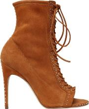 105mm Micro Studs Suede Lace Up Boots