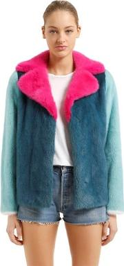 Color Blocked Mink Fur Jacket