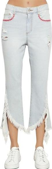 Fringed Flared Cotton Denim Jeans