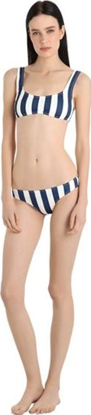 Elle Striped Lycra Bikini Bottom