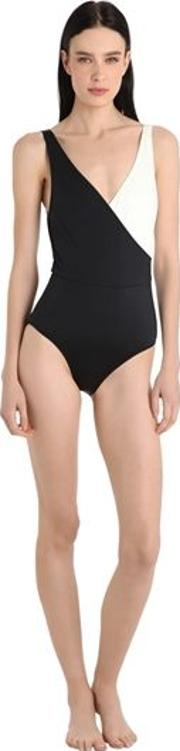 Two Tone Lycra Swimsuit W Wrap Effect