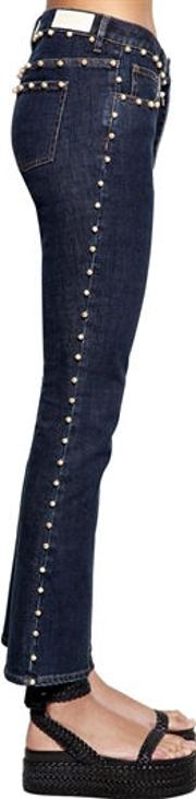 Cropped Denim Jeans W Pearls