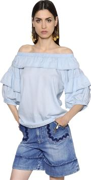 Off The Shoulder Ruffled Chambray Blouse