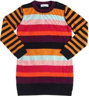 Striped Wool Blend Knit Sweater Dress